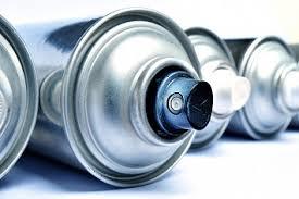 Up close image of Aerosol Cans
